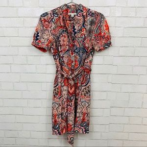 BANANA REPUBLIC 100% SILK PAISLEY WRAP DRESS M
